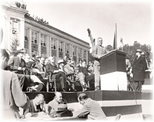 President Franklin D. Roosevelt speaking at the opening  ceremonies of the 1935 celebration of the creation of the Forest Preserve.
