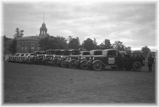 Forest Ranger Trucks on display at Lake Placid as a part of the 50th Anniversary of the creation of the Forest Preserve.