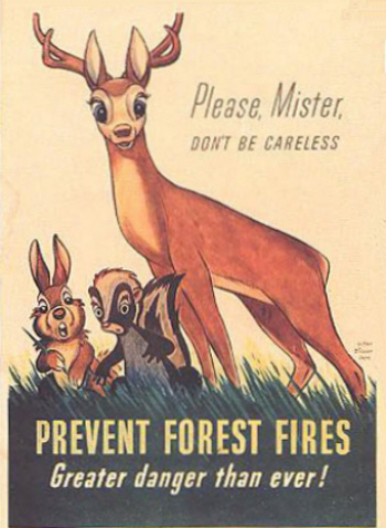 The first poster of a new fire prevention program fostered by the USFS and the Advertising Council.