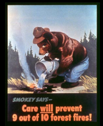 1944 - The first Smokey Bear poster created by Albert Stachle.